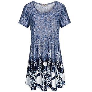 Hibelle Women's Round Neck Short Sleeve Floral Print Shift Dress