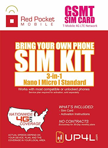 Red Pocket Mobile GSMT SIM Card Starter Kit 3 in 1 (Nano, Micro, Standard Simple No Contract Plans starting at $10/mo, Prepaid SIM will work w/T-Mobile or GSM Unlocked Phone incld iPhone android
