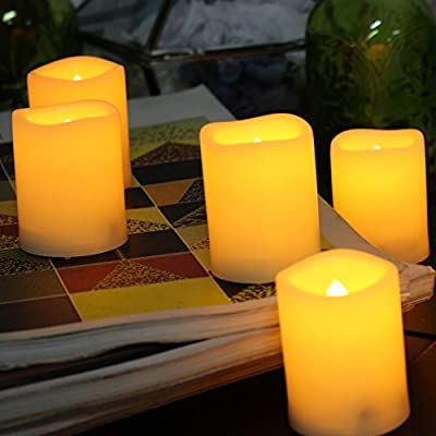6PCS Premium Flameless Candles with Timer, LED Votive Candles, Battery Powered Votives with Timer, Realistic Flickering Effect, Long Battery Life, Battery Life 200+ Hours