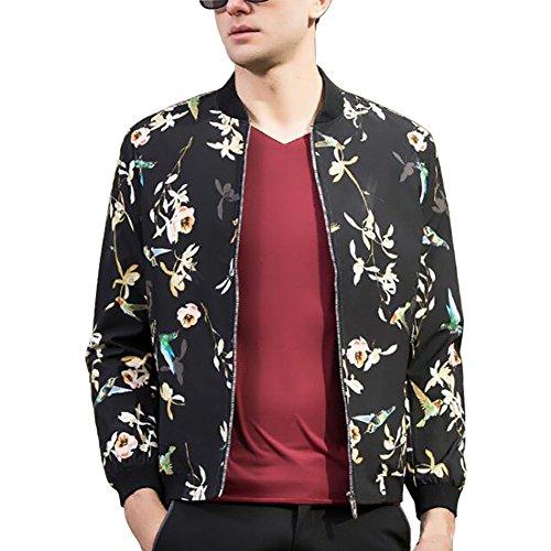 ELETOP Men's Casual Jacket Full Zip Lightweight Ourwear Floral Print Jacket Type3 Black US XL (Tag (Life Black Full Zip Jacket)