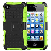 iPhone 4 Case,Apple iPhone 4S Case,Armor Heavy Duty Protection Rugged Dual Layer Hybrid Shockproof Case Protective Cover for Apple iPhone 4 4S with Built-in Kickstand (Green)