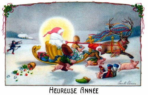 Moonlight Sleigh - c1900 P.Ebner~French New Year Elves Ride Pigs~Reindeer w Ribbons Pulls Sleigh in Moonlight~Heureuse Annee~6 pack NEW Matte Vintage Picture Large Blank Note Cards with Envelopes