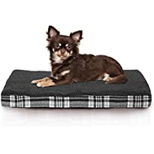 FurHaven Deluxe Orthopedic Faux Sheepskin & Plaid Pet Bed Mattress for Dogs and Cats, Smoke Gray, Small