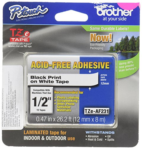 - Brother 12mm Acid Free Tape, Black/White (TZeAF231)