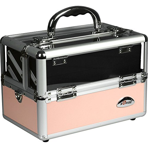 Price comparison product image SUNRISE Makeup Train Case C0009 Clear Acryic Top,  Travel Cosmetic Box with 2 Trays,  Mirror and Shoulder Strap,  Pink Matte