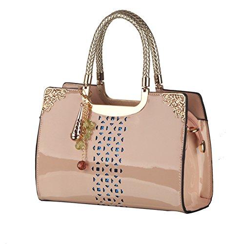 DCRYWRX Bolso De Cuero De Las Mujeres De Moda Elegante Bolsa De Hombro Bolsa De Viaje Al Aire Libre Bolso De Las Señoras Bolsa De Hombro,Blue Pink