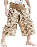 BohoHill Capri Fisherman Pants Cropped Meditation Yoga Trousers (Khaki Inca Aztec)