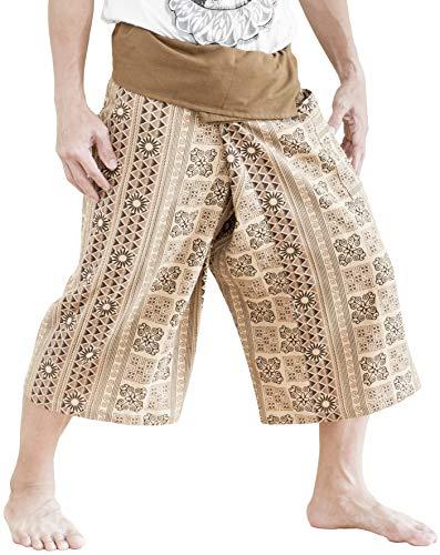 BohoHill Capri Fisherman Pants Cropped Meditation Yoga Trousers (Khaki Inca Aztec) by BohoHill