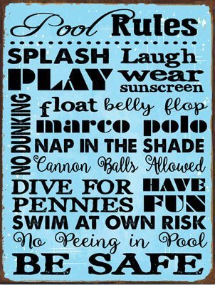 Pool Rules Metal Sign, Motivational Rules, Swimming Pool Sign, Positive Thinking, Modern Decor