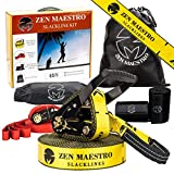Zen Maestro Slackline kit 65ft Complete with Tree & Ratchet Protectors, Optional Training Line, Arm Trainer, Carry Bag, Instruction Booklet-Outdoor Fun for Kids & Adults. Easy to Set