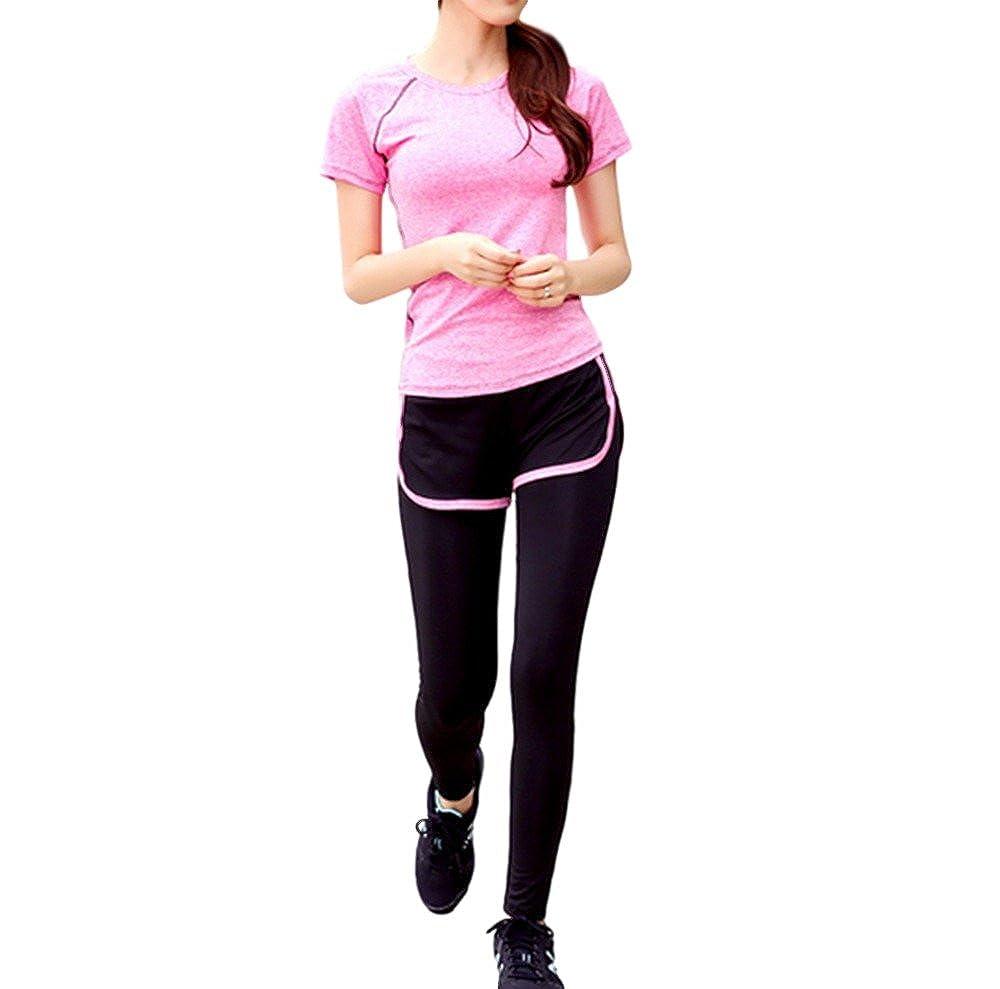 (DauStage) 半袖 スパッツ 一体型 レディース 上下セットアップ 3色 6サイズ スポーツウェア