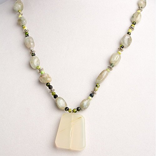 Round Ring Jade Pendant - Pale Green Clear Glass Pendant with Pale Green Aquamarine Rectangular Beads and Green Jade Round Beads Necklace, Earring, and Bracelet Set