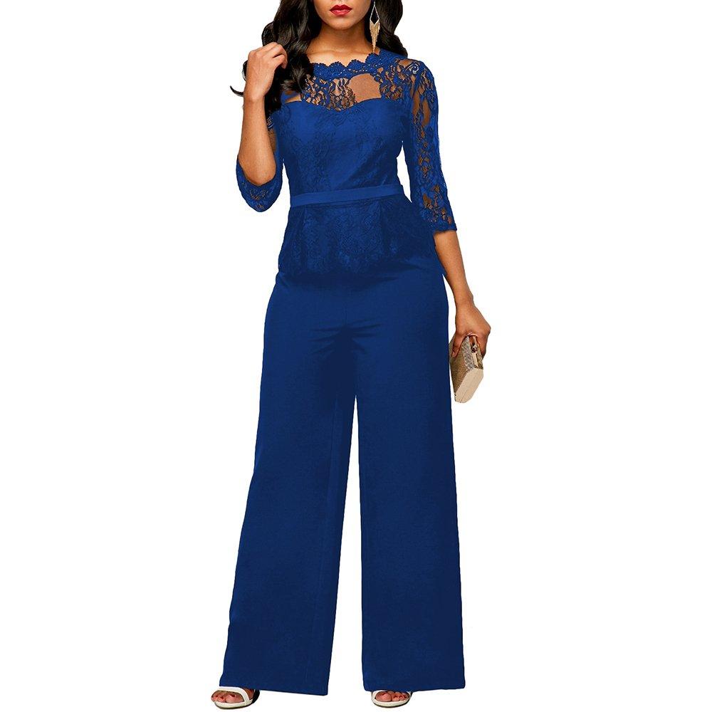 133120510fd1 Dihope Femme Combinaison V Cou Jumpsuit 1 2 Manches Romper Casual Bodysuit  Overall Playsuit de Soirée Party Pantalon Large  Amazon.fr  Vêtements et ...