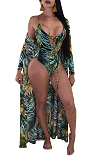 074c2366423 leveltech Women s Boho Long Sleeve Colorful Floral Printed Swimsuit ...