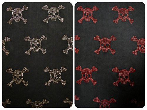 Crossbones Knit (Skull & Crossbones Pattern Mini Metallic Dew Drop Studs on Black Stretch Knit Jersey Polyester Spandex Fabric By the Yard (Red))