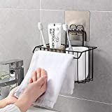GETKO WITH DEVICE Stainless Steel Wall Hanging Bathroom Shower Caddy Basket Shelf for Bathroom Sink Sponge Holder, Shampoo, Conditioner, Liquid and Toothbrush Holder with Kitchen Towel Rack Stand
