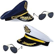 Tigerdoe Captain Hat - 4 Pc Set - Yacht Captain Hat - Boat Captains Hat - Skipper Hat - Ship Captain Costume