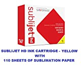SUBLIJET HD Ink Cartridge - YELLOW Color - WITH 110 SHEETS OF SUBLIMATION PAPER ''Made in Japan''. (This ink cartridge is for Sawgrass Virtuoso SG400 and SG800 printers only).