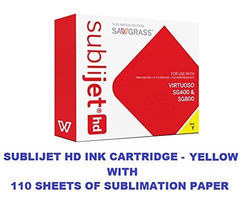 SUBLIJET HD Ink Cartridge - YELLOW Color - WITH 110 SHEETS OF SUBLIMATION PAPER ''Made in Japan''. (This ink cartridge is for Sawgrass Virtuoso SG400 and SG800 printers only). by Sawgrass and Eventprinters