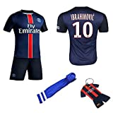 FC FirstClass 2015/2016 Navy Dark Blue #10 IBRAHIMOVIC Home Football Soccer Jersey & Shorts & socks & key chain kids 3-14 years