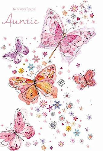 To A Special Tía Flores Y Mariposa Diseño Tarjeta De Felicitación De