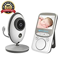 Video Baby Monitor Wireless with Digital Camera, Anmade 2 Way Talkback, 2.4inch Screen Night Vision Temperature Monitoring Lullabies Long Range and High Capacity Battery for Security