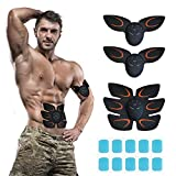 Phenitech Abs Stimulator, Abdominal Toning Belt Muscle Toner Portable Muscle Trainer EMS Body Fitness Belt 5 Modes & 15 Levels with 10pcs Replacement Pads for Abdomen/Arm/Leg Training Men Women