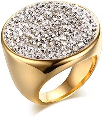 Womens Stainless Steel Huge Domed Round White CZ Rhinestone Crystal Ring,Gold Plated