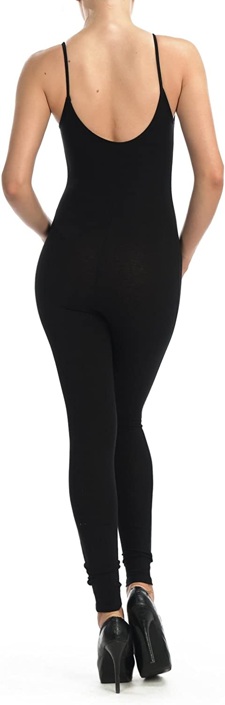 JJJ Women Catsuit Cotton Lycra Tank Spaghetti Strapped Yoga Bodysuit Jumpsuit S-Plus