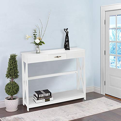 Bonnlo White Entryway Table Sofa Table with Drawer and Shelf Slim Console Table with Storage for Hallway