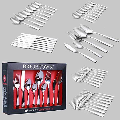 18/0 Stainless Bright Finish (45-Pieces Mooncrest Flatware Set, Stainless Steel Tableware Dinnerware-Service for 8, Heat Resistant Cutlery, Not-Bend and Rust-Proof Guarantee)
