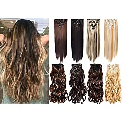 """7Pcs 16 Clips 20-24 Inch Thick Curly Straight Full Head Clip in on Double Weft Hair Extensions (24"""" Straight, # Natural Black)"""