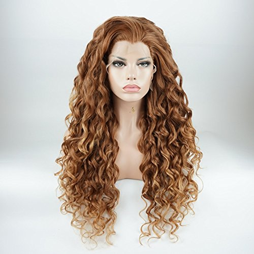 Lushy Kinky Curly Long Auburn Root Honey Blonde Ombre Wig Heavy Density Heat Resistant Synthetic Lace Front Wig ()