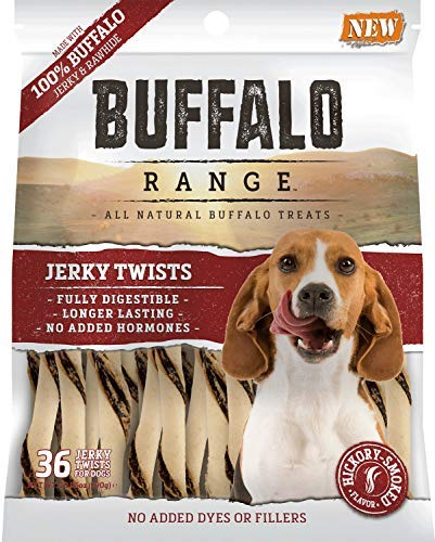 Ranges Buffalo - Buffalo Range Rawhide Dog Treats | Healthy, Grass-Fed Buffalo Jerky Raw Hide Chews | Hickory Smoked Flavor | Jerky Twist, 36 Count