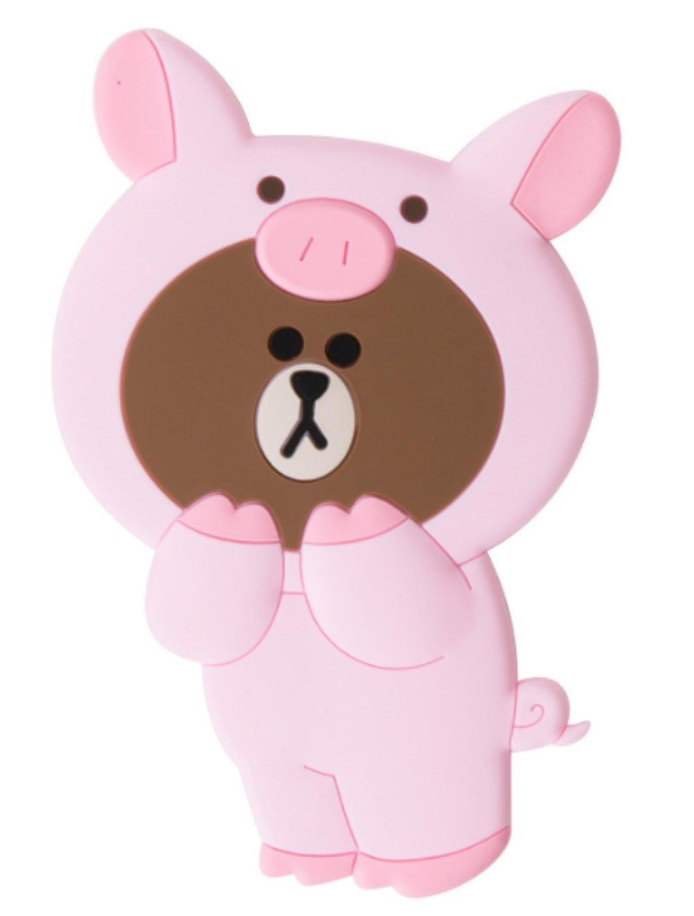 LINE FRIENDS Jungle Brown Silicon Piggy Hand Mirror One Size Pink