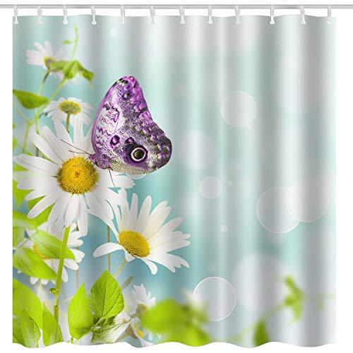 BROSHAN Nature Flowers Shower Curtains, Fresh Daisy Flower Leaves & Butterfly Dreamy Garden Scenery Art Print, Country Waterproof Fabric Bathroom Decor Set,White Green,72 x 72 inch