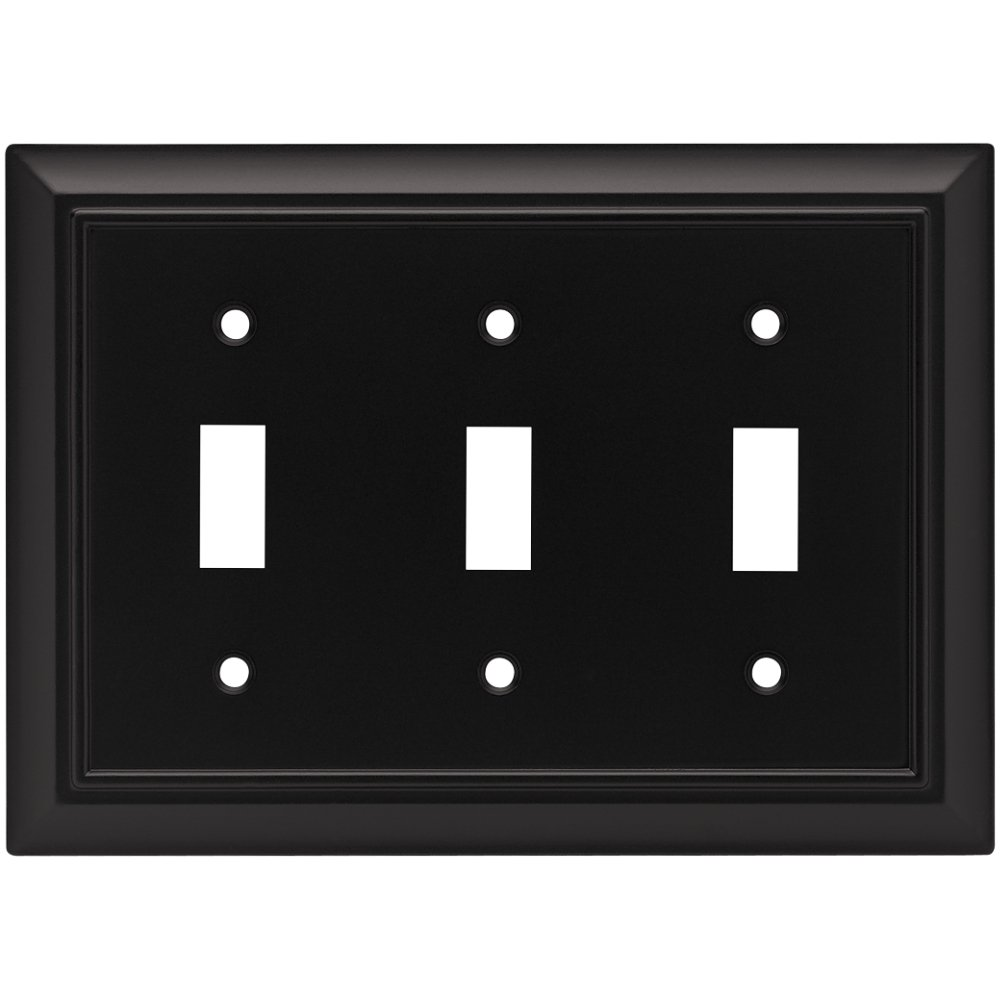 Brainerd 64215 Architectural Triple Toggle Switch Wall Plate / Switch Plate / Cover, Flat Black