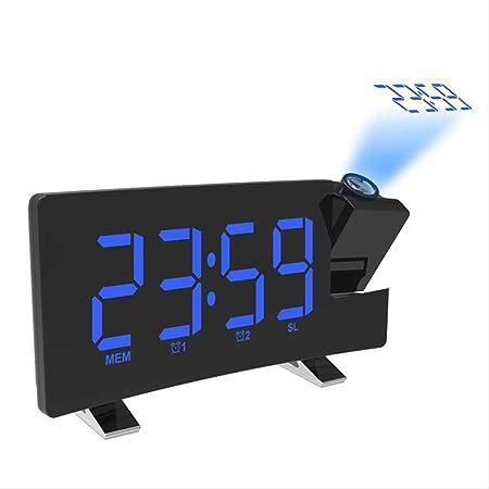 xzndv Reloj Despertador con proyector de Espejo LED, Radio Reloj ...