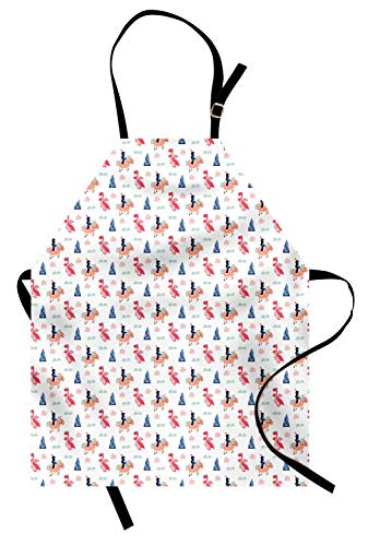 Lunarable Prince Apron, Childish Cartoon Style Knights and Dragons Traditional Elements of a Fairy Tale, Unisex Kitchen Bib Apron with Adjustable Neck for Cooking Baking Gardening, -