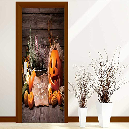 SCOCICI1588 New Art Decor Home Creative halloween still life with pumpkins and halloween holiday text Privacy Protection W23 x H70 INCH