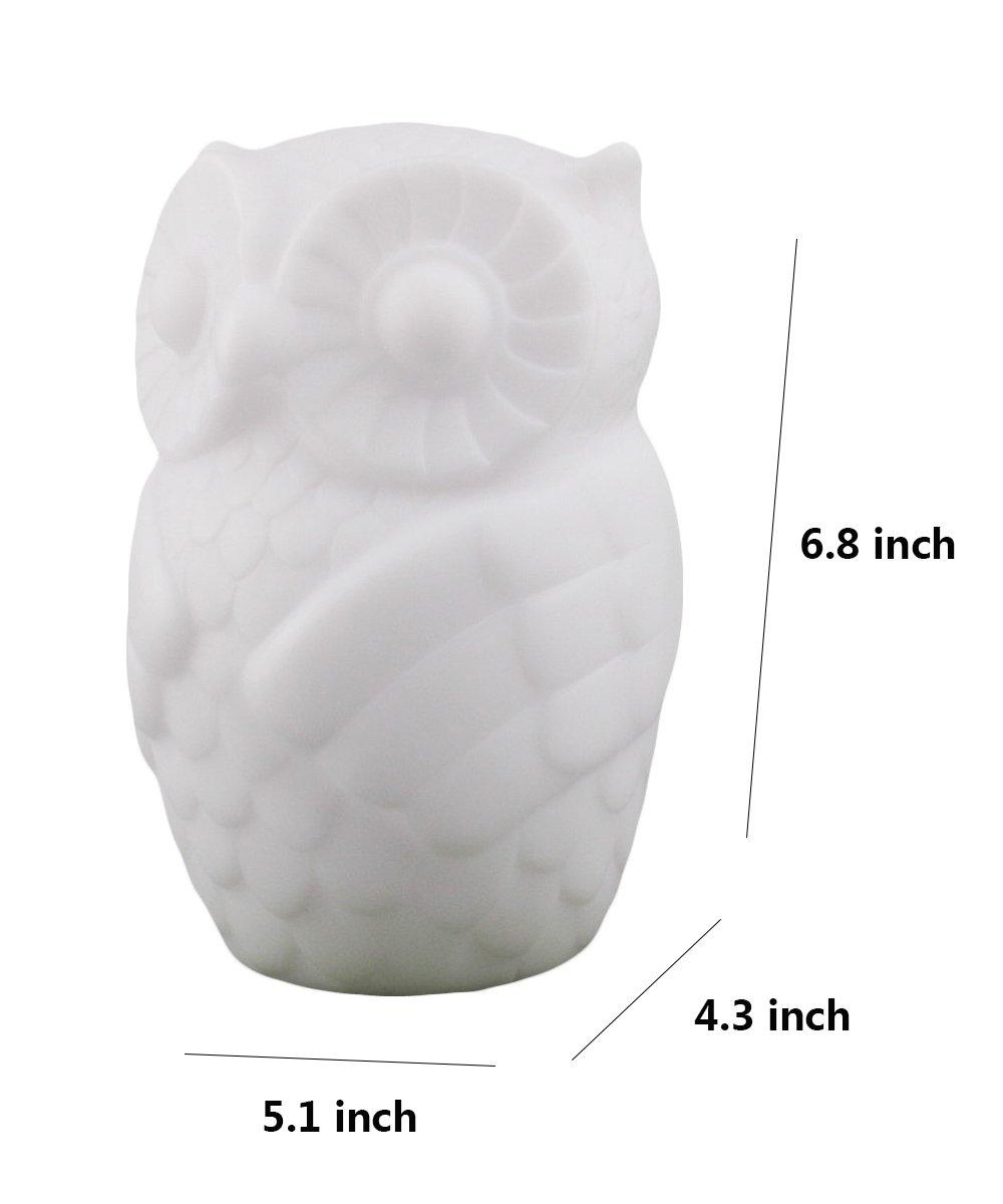 Lovingvs Owl Night Light, Cool White Battery Powered Porcelain Timer LED Table Lamp Desk lamp for Bedroom Decorative by Lovingvs (Image #2)