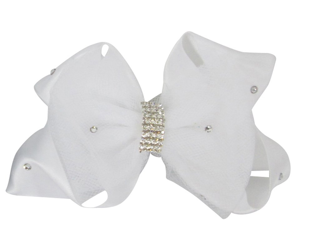 White Swarovski Rhinestone Tulle Hair Bow Clip