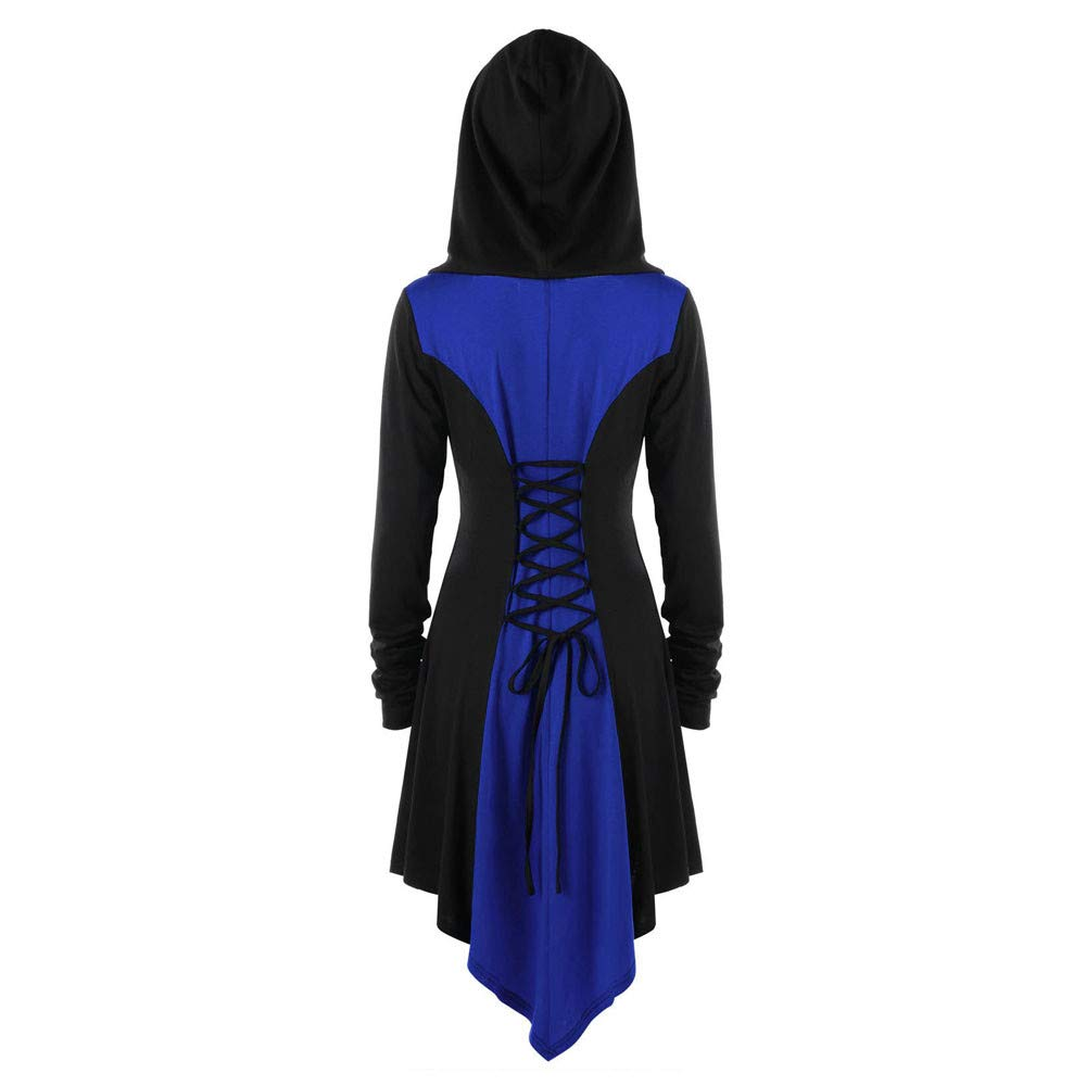 Kemilove Womens Halloween Costumes Hooded Robe Lace Up Vintage Pullover High Low Long Hoodie Dress Cloak by Kemilove (Image #2)