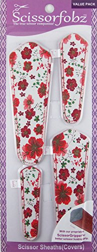 SCISSORFOBZ with ScissorGripper -VALUE PACK-4 sizes- Designer Scissor Covers Holders for embroidery sewing quilting - Quilters sewers gift - Red Floral Print. S-11 (Designer Value Pack)