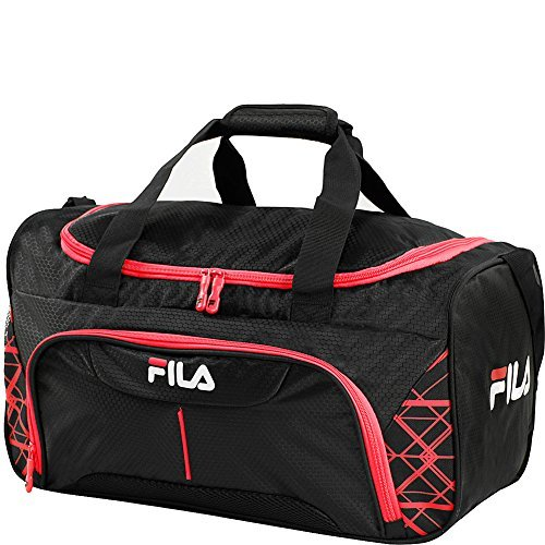 Fila Fastpace Small Sports Duffel Bag Gym, Black/Red, One Size