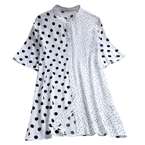 Londony ◈ Women's Blouses Polka Dot Short Sleeve Elegant Tee Tops Casual Shirts asual Scoop Neck Tops Tee S-XXL White ()