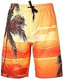 HENGAO Men's Tropical Floral Hawaiian Swim Trunks Beach Board Shorts with Lining, C11 Yellow, XL