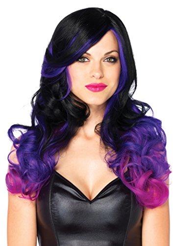 Pink And Black Costume (Leg Avenue Women's Allure Multi Color Long Wavy Wig with Adjustable Elastic Strap, Black/Purple 24