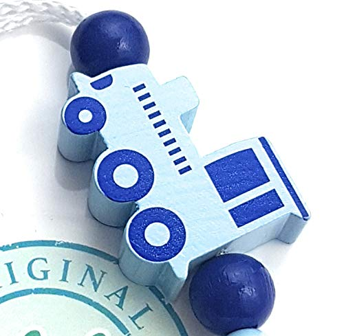 Handmade Individuelle Namenskette zur Geburt Taufe Junge LALALO Schnullerkette Eisenbahn Lokomotive mit Namen Weihnachten Blau Grau Baby Schnullerhalter aus Holz Geburtstag
