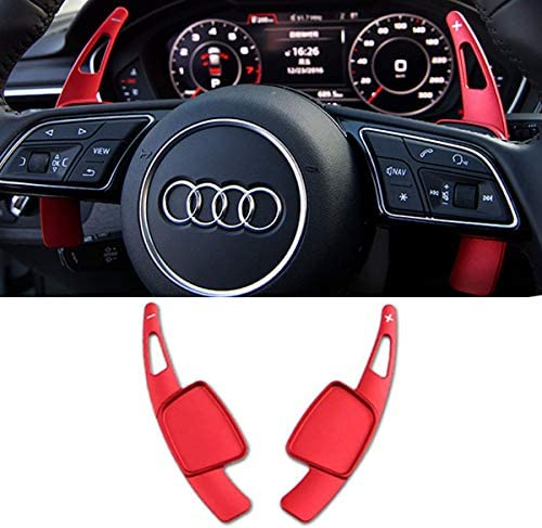 Steering Wheel Paddle Shifter Extensions For Audi TTCR-II Shift Paddle Blades Fit Audi A4 2017-2019 A3 Q7 S3 2017-2020 A5 S4 S5 2018-2019 Q5 SQ5 2018-2020 Q8 2019-2020 TT TTS 2016-2020 (Red)